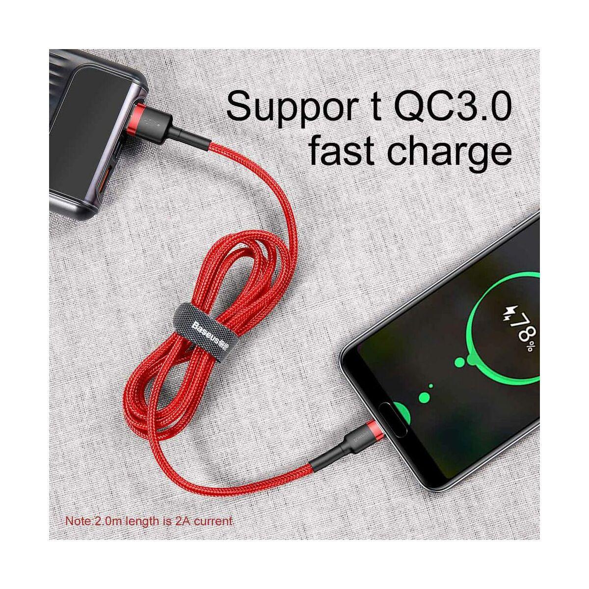 Baseus Type-C Cafule kábel, 2A, 3m, piros/piros (CATKLF-U09)