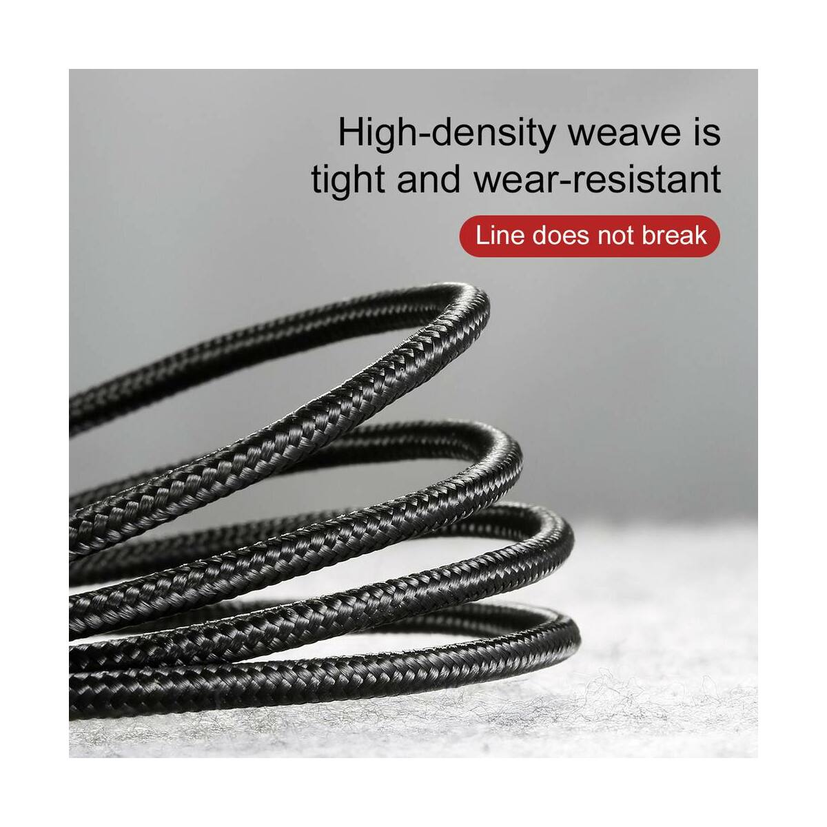 Baseus Type-C Cafule kábel, 2A, 3m, szürke/fekete (CATKLF-UG1)