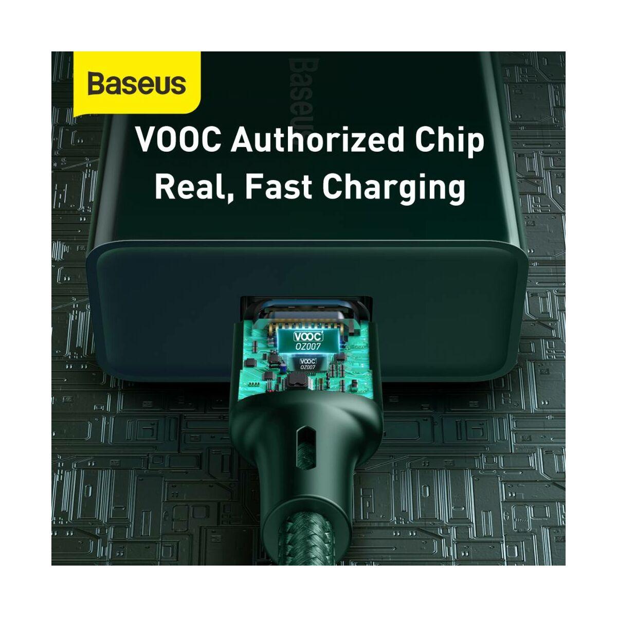 Baseus Type-C kábel Cafule (VOOC támogatás) 480 Mbps adatátviteli sebesség, 5A, 1m, zöld (CATKLF-VA06)