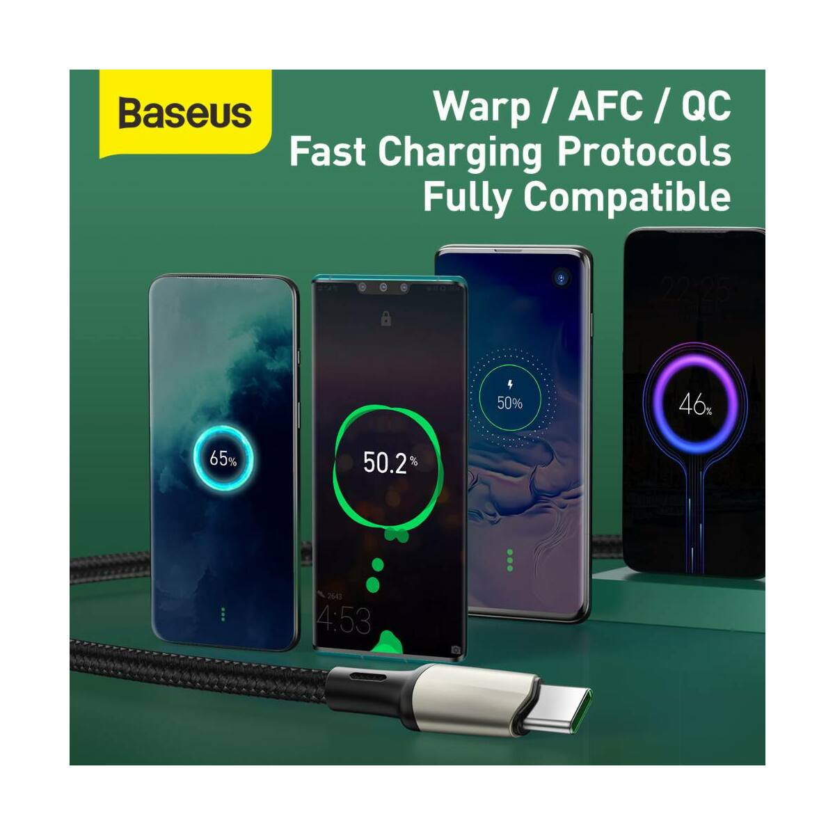 Baseus Type-C kábel Cafule (VOOC támogatás) 480 Mbps adatátviteli sebesség, 5A, 2m, fekete (CATKLF-VB01)