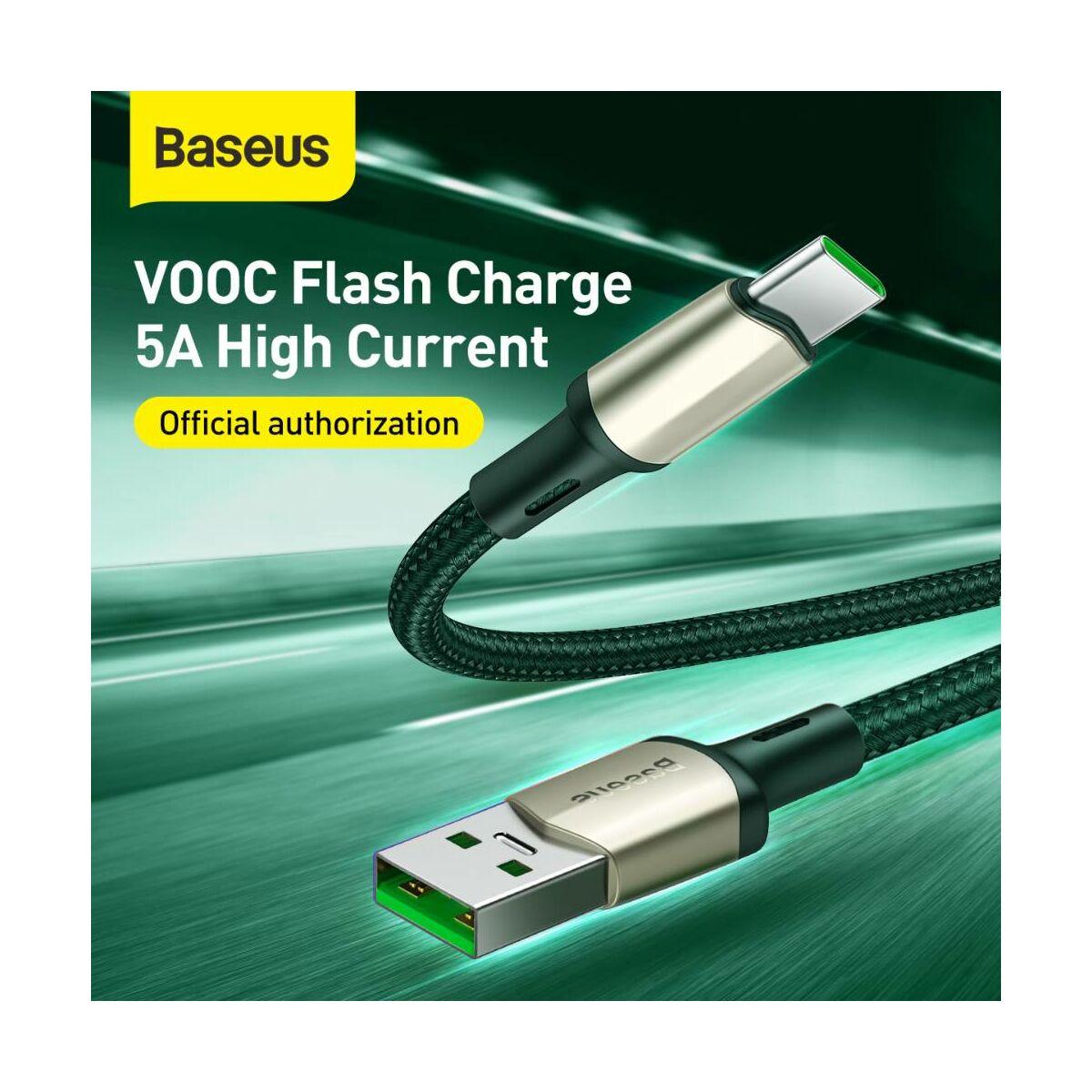 Baseus Type-C kábel Cafule (VOOC támogatás) 480 Mbps adatátviteli sebesség, 5A, 2m, zöld (CATKLF-VB06)