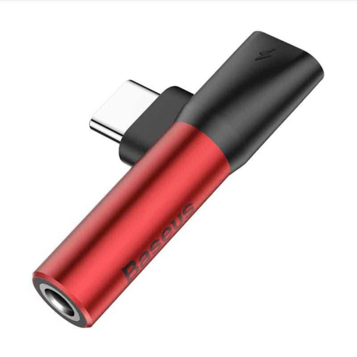 Baseus átalakító, L41 Type-C (bemenet) - Type-C + 3.5 mm, csatlakozó, piros/fekete (CATL41-91)