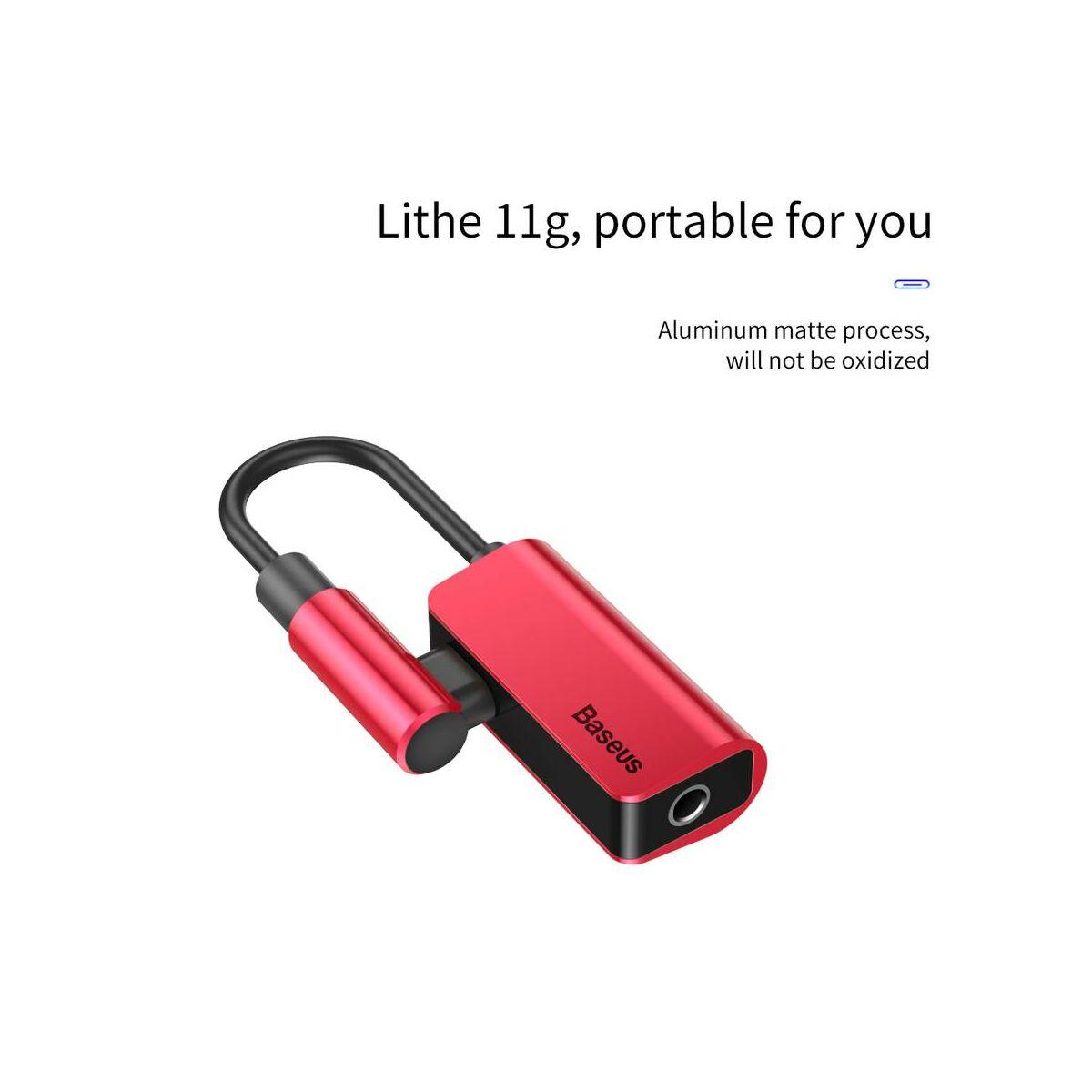 Baseus átalakító, Type-C[apa] - Type-C[anya] + 3.5mm[anya] L45, piros (CATL45-09)