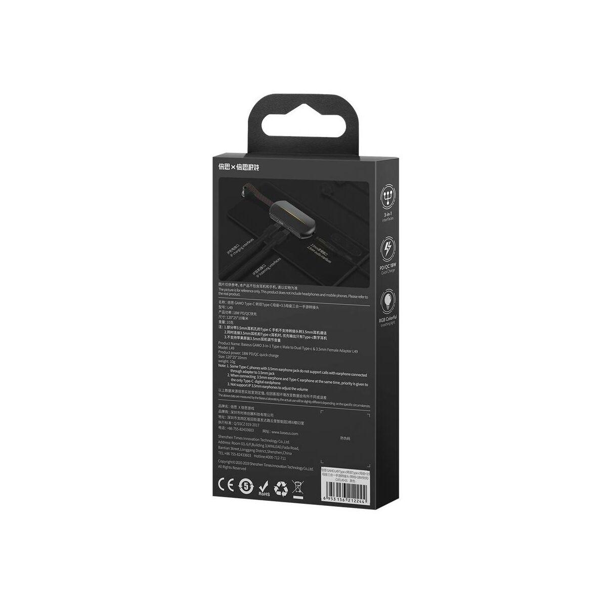 Baseus átalakító, L49 3-in-1 Type-C [apa] - Dual Type-C + 3.5 mm [anya] adapter, fekete (CATL49-01)