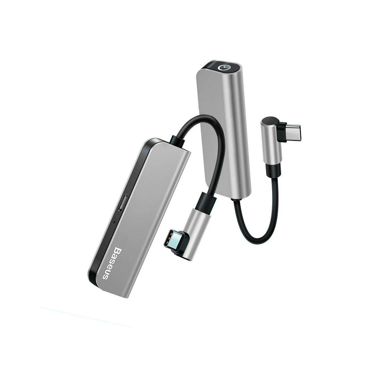 Baseus átalakító, L53 Type-C [apa] - Type-C 3.5 mm [anya] adapter, ezüst/fekete (CATL53-S1)