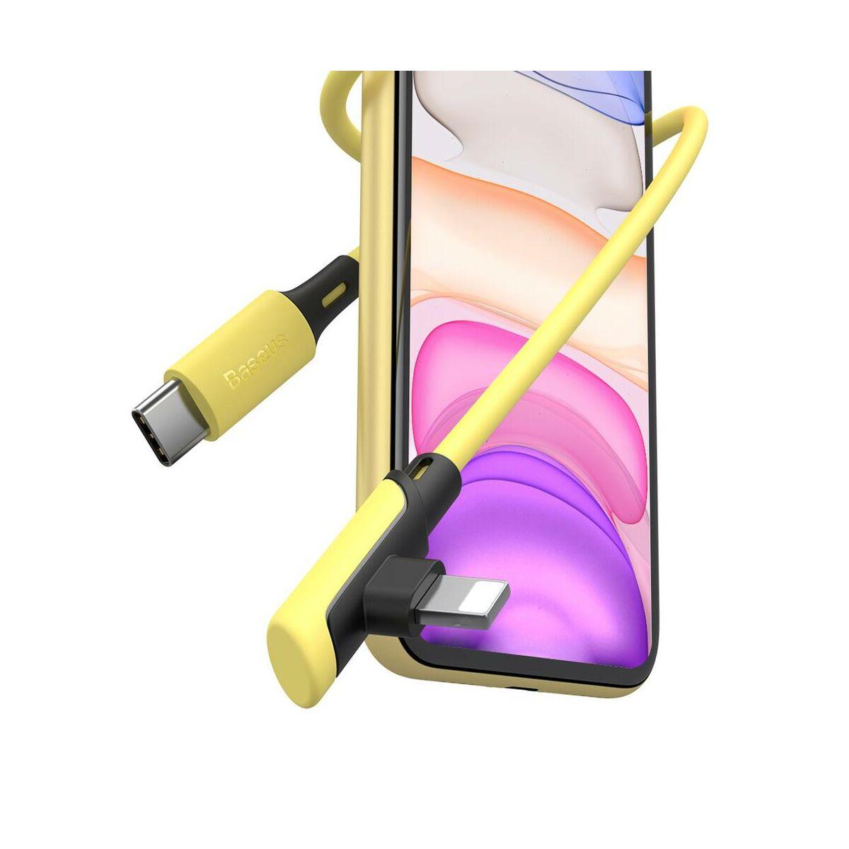 Baseus Type-C - Lightning Colourful Elbow Power Delivery kábel, döntött végű, derékszöges csatlakozással 18W, 1.2m, citrom (CATLDC-A0Y)
