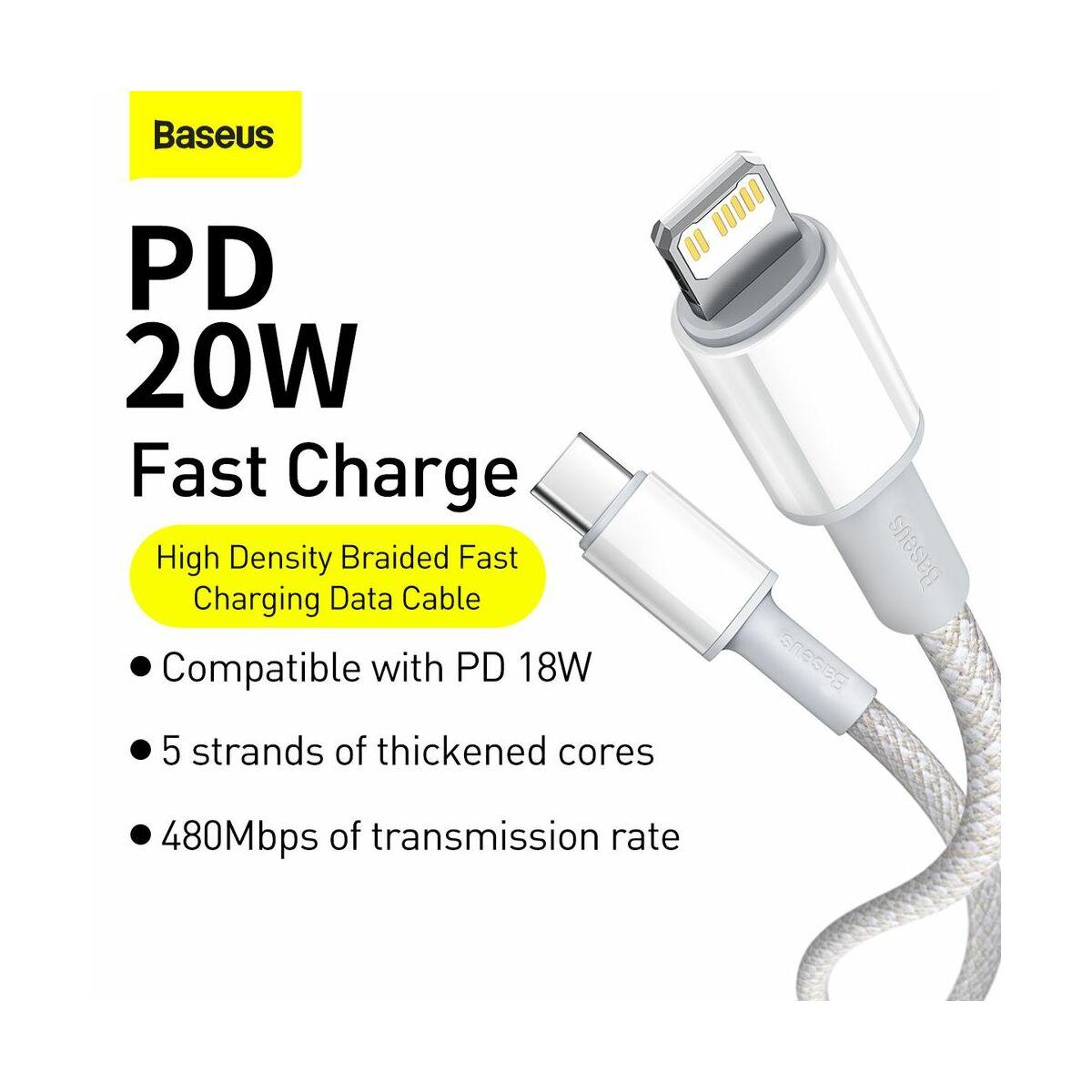 Baseus Type-C - Lightning kábel, sűrű szövésű gyorstöltő kábel PD 20W 1m, fehér (CATLGD-02)