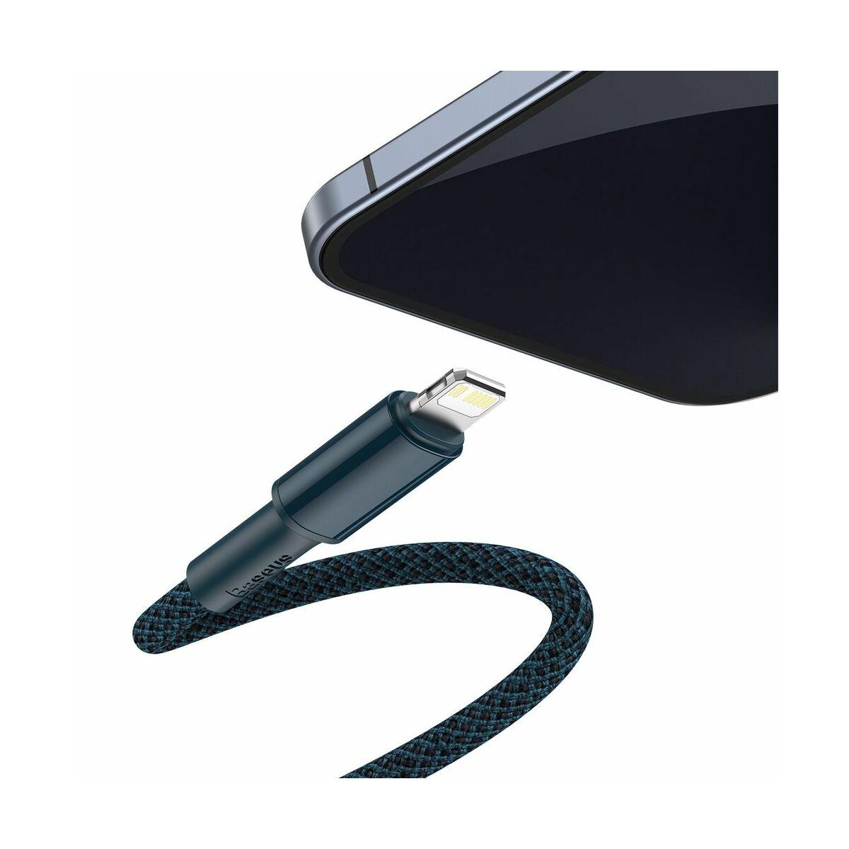 Baseus Type-C - Lightning kábel, sűrű szövésű gyorstöltő kábel PD 20W 1m, kék (CATLGD-03)