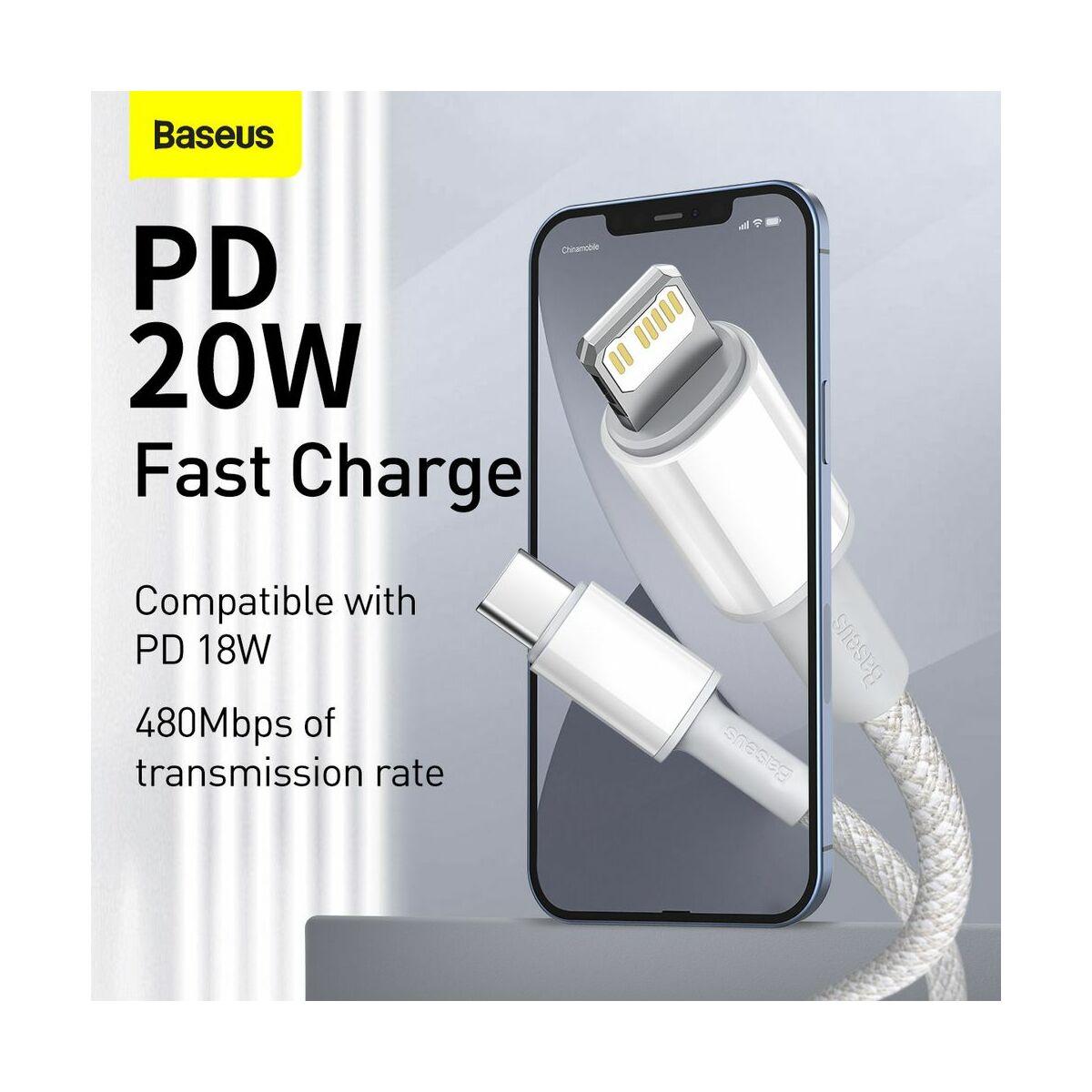 Baseus Type-C - Lightning kábel, sűrű szövésű gyorstöltő kábel PD 20W 2m, fehér (CATLGD-A02)