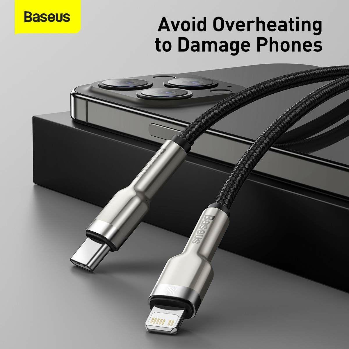 Baseus Type-C - Lightning kábel, Cafule Series Metal gyorstöltő és adatkábel, PD 20W, 1m, fekete (CATLJK-A01)