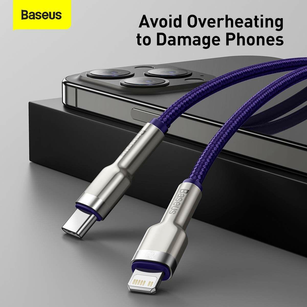 Baseus Type-C - Lightning kábel, Cafule Series Metal gyorstöltő és adatkábel, PD 20W, 1m, lila (CATLJK-A05)