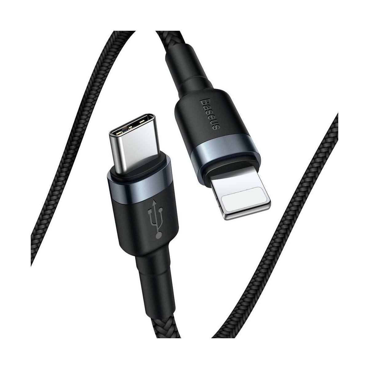 Baseus Type-C - Lightning Cafule kábel, tartós fonott Nylon burkolat, QC3.0, 18W, 1m, fekete/szürke (CATLKLF-G1)