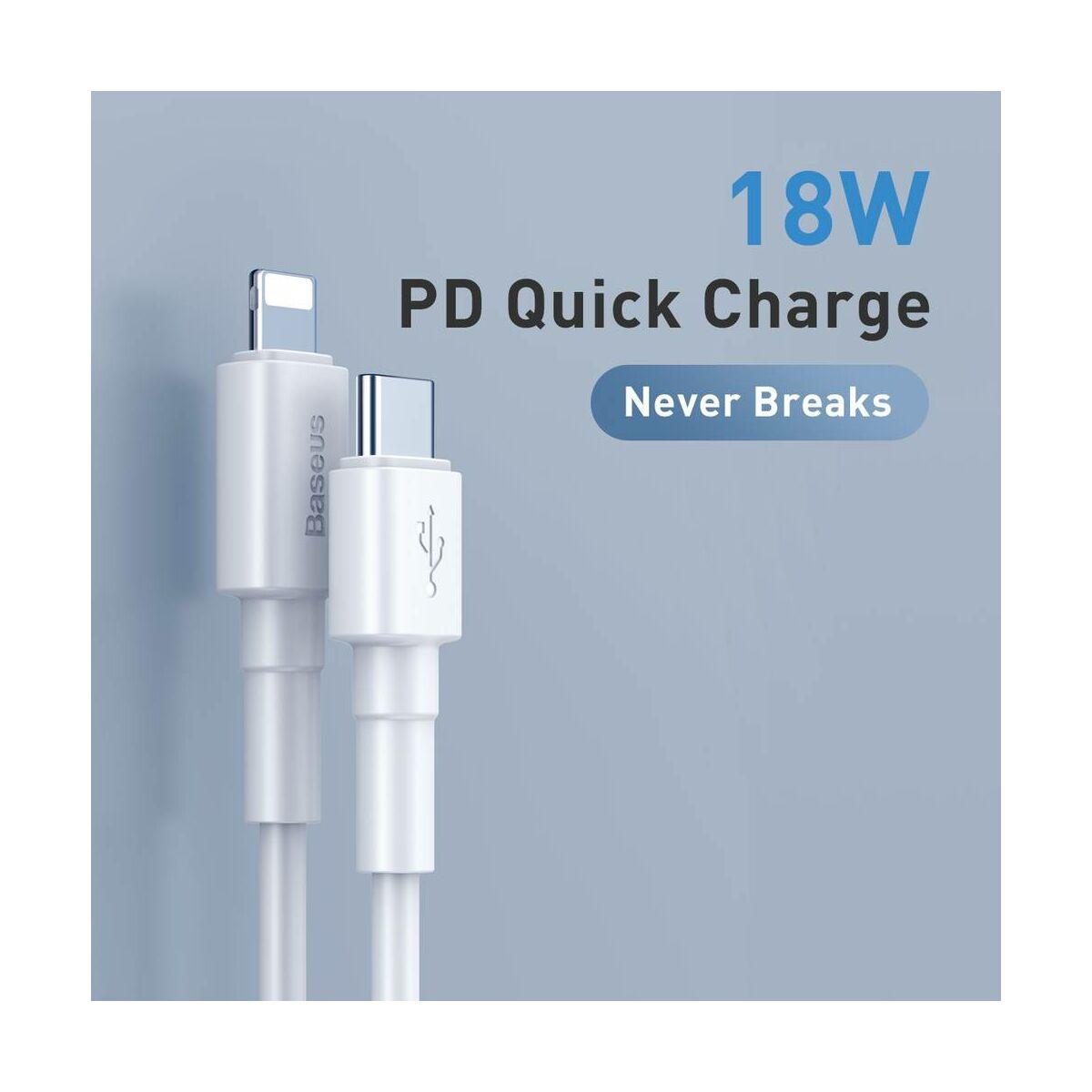 Baseus Type-C - Lightning kábel, Mini PD 18W, 1m, fehér (CATLSW-02)