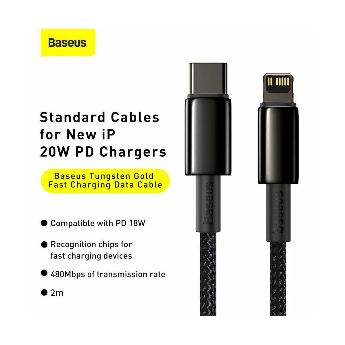 Baseus Type-C - Lightning kábel, Tungsten Gold gyorstöltő PD 20W 2m, fekete (CATLWJ-A01)
