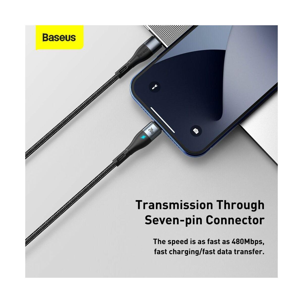 Baseus Type-C - Lightning kábel, Zinc Mágneses gyorstöltő kábel PD 20W 2m, fekete (CATLXC-01)