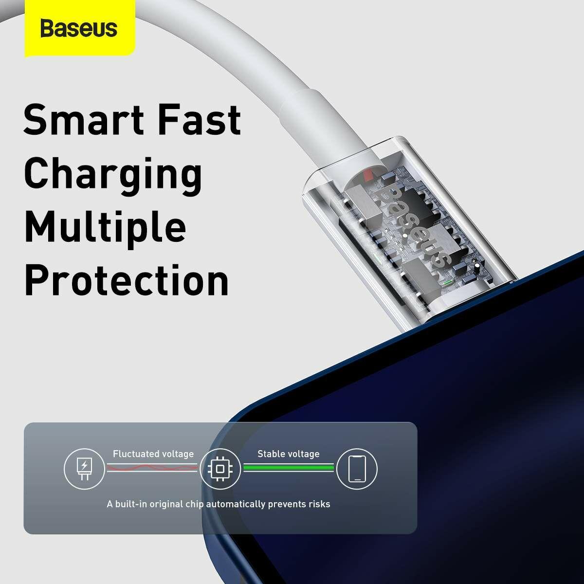 Baseus Type-C - Lightning Superior Series Gyors töltés, Adatkábel, PD 20W 0.25m, fehér (CATLYS-02)