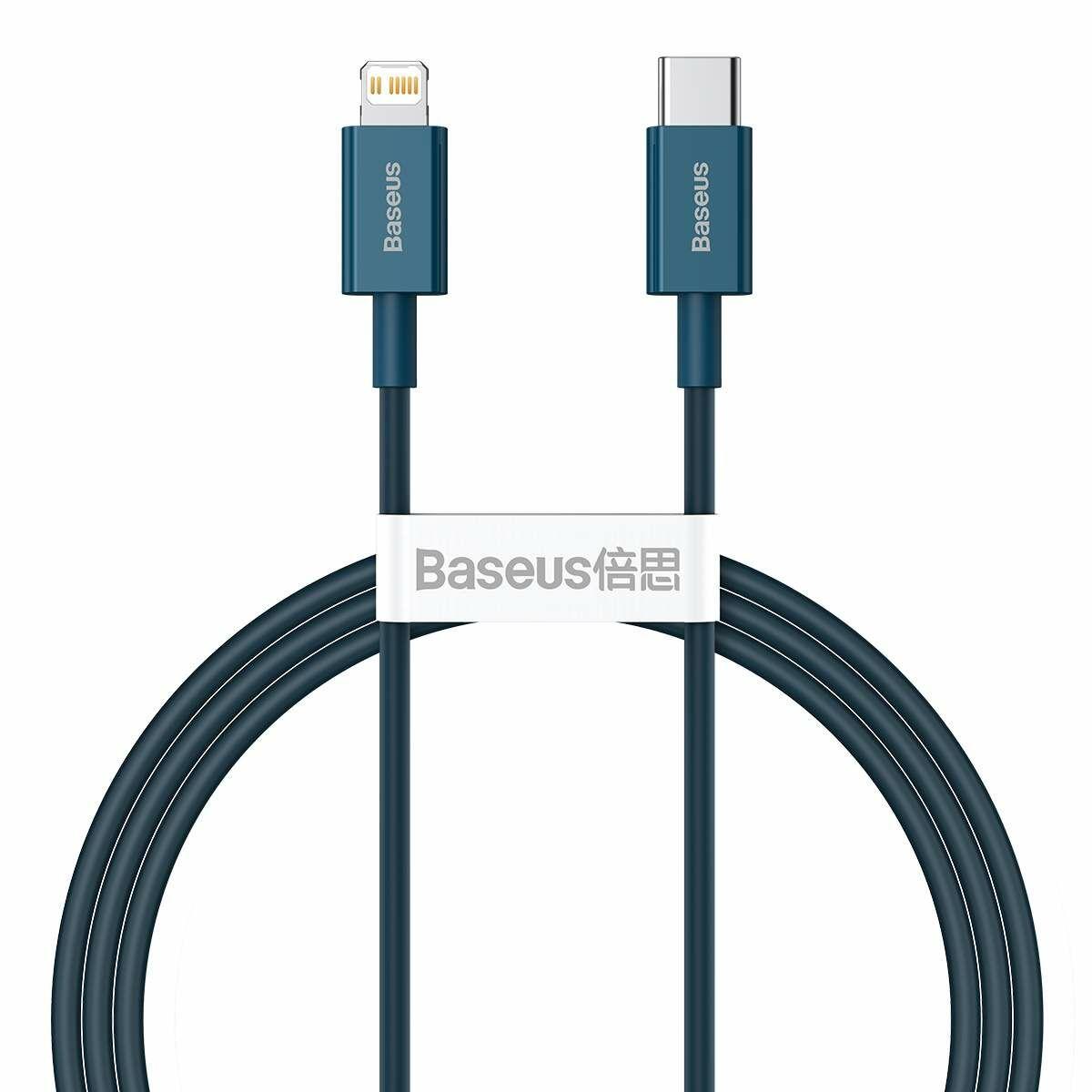 Baseus Type-C - Lightning Superior Series Gyors töltés, Adatkábel, PD 20W 1m, kék (CATLYS-A03)