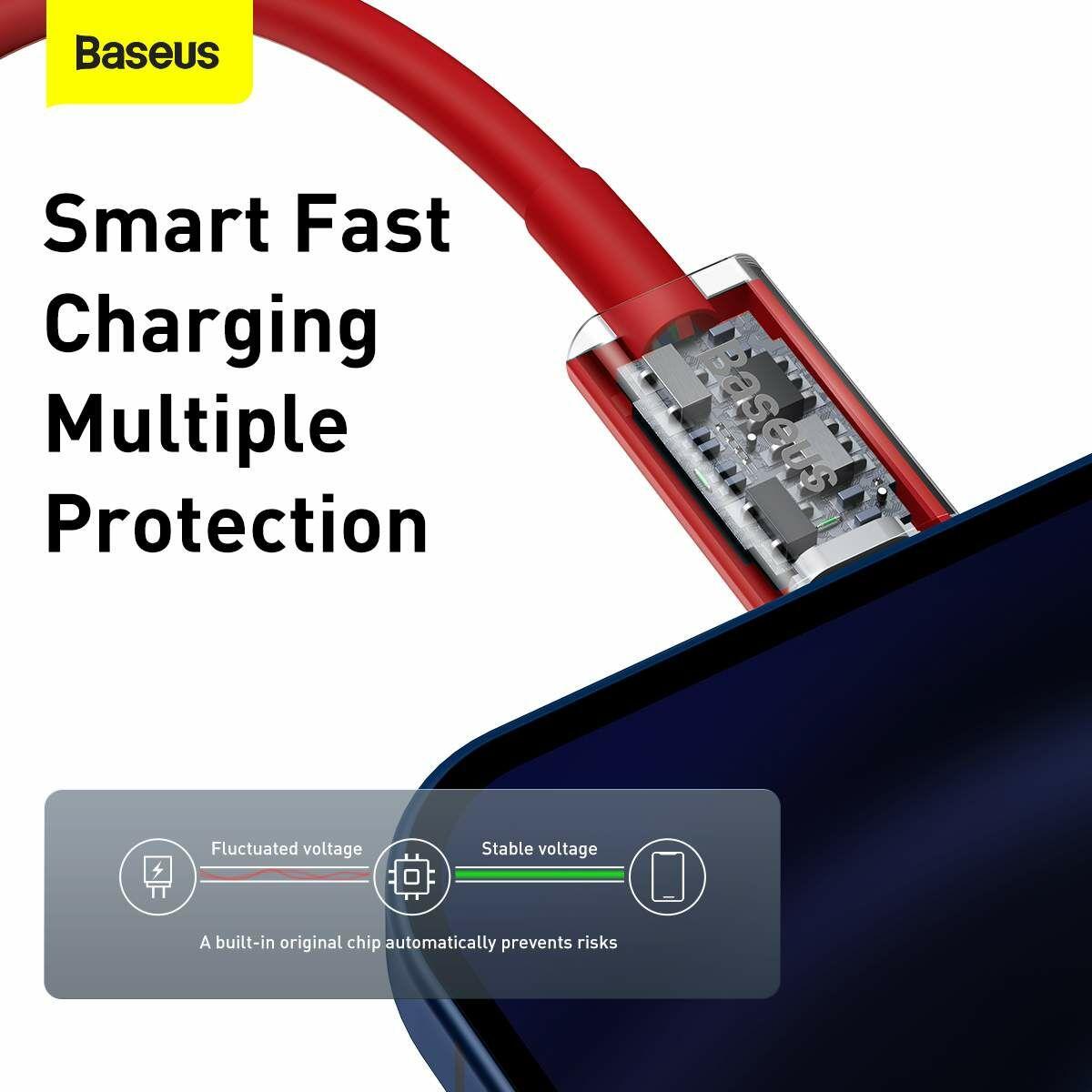 Baseus Type-C - Lightning Superior Series Gyors töltés, Adatkábel, PD 20W 1m, piros (CATLYS-A09)