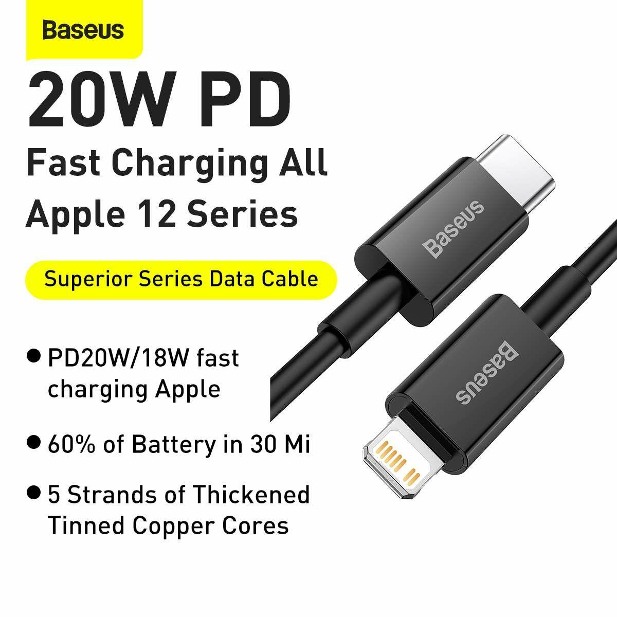 Baseus Type-C - Lightning Superior Series Gyors töltés, Adatkábel, PD 20W 2m, fekete (CATLYS-C01)