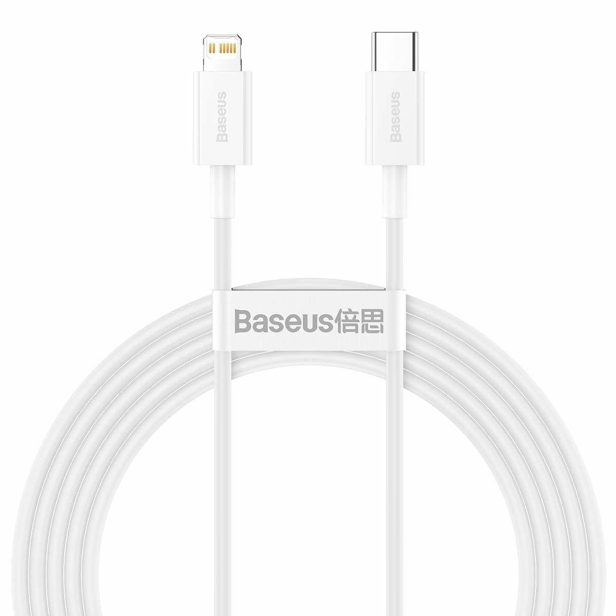 Baseus Type-C - Lightning Superior Series Gyors töltés, Adatkábel, PD 20W 2m, fehér (CATLYS-C02)