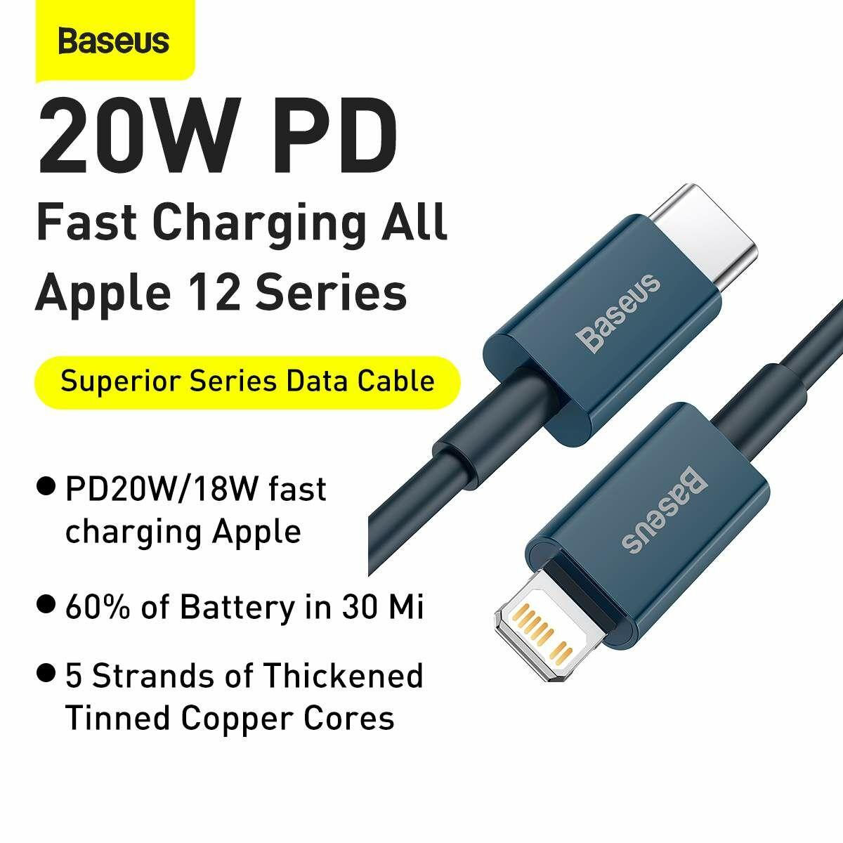 Baseus Type-C - Lightning Superior Series Gyors töltés, Adatkábel, PD 20W 2m, kék (CATLYS-C03)