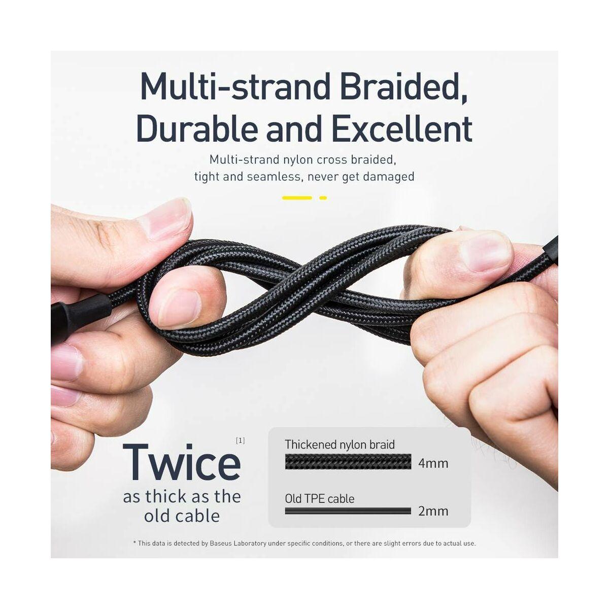 Baseus Univerzális kábel, Twins 2 -1 Type-C-ről Type-C 60W (20V/3A)+ Lightning (5V/2A), 1m, fekete (CATLYW-01)