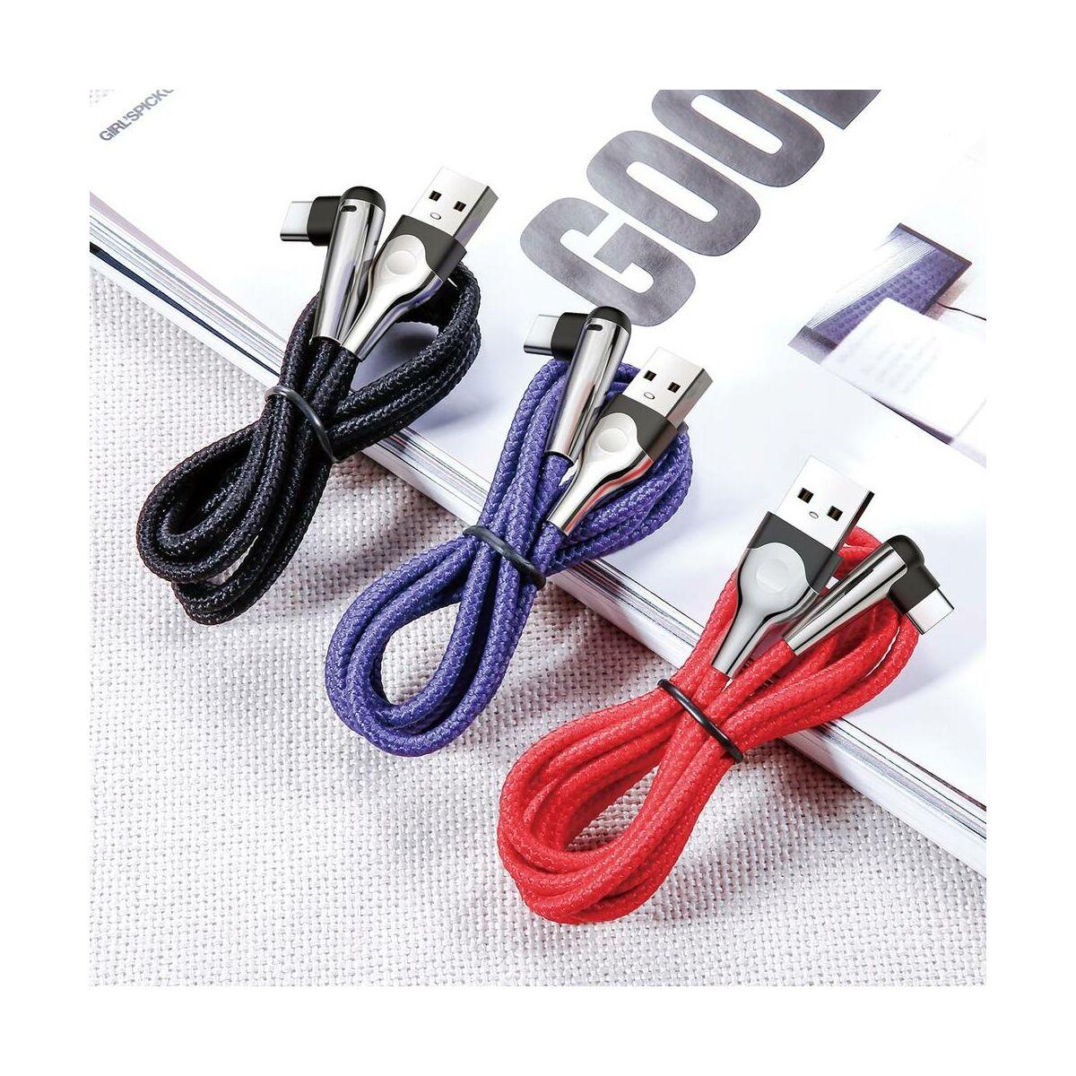 Baseus Type-C kábel, Sharp-bird Mobile Game, L-alakú csatlakozó, töltés/státusz-jelző LED, 3A, 1m, fekete (CATMVP-D01)