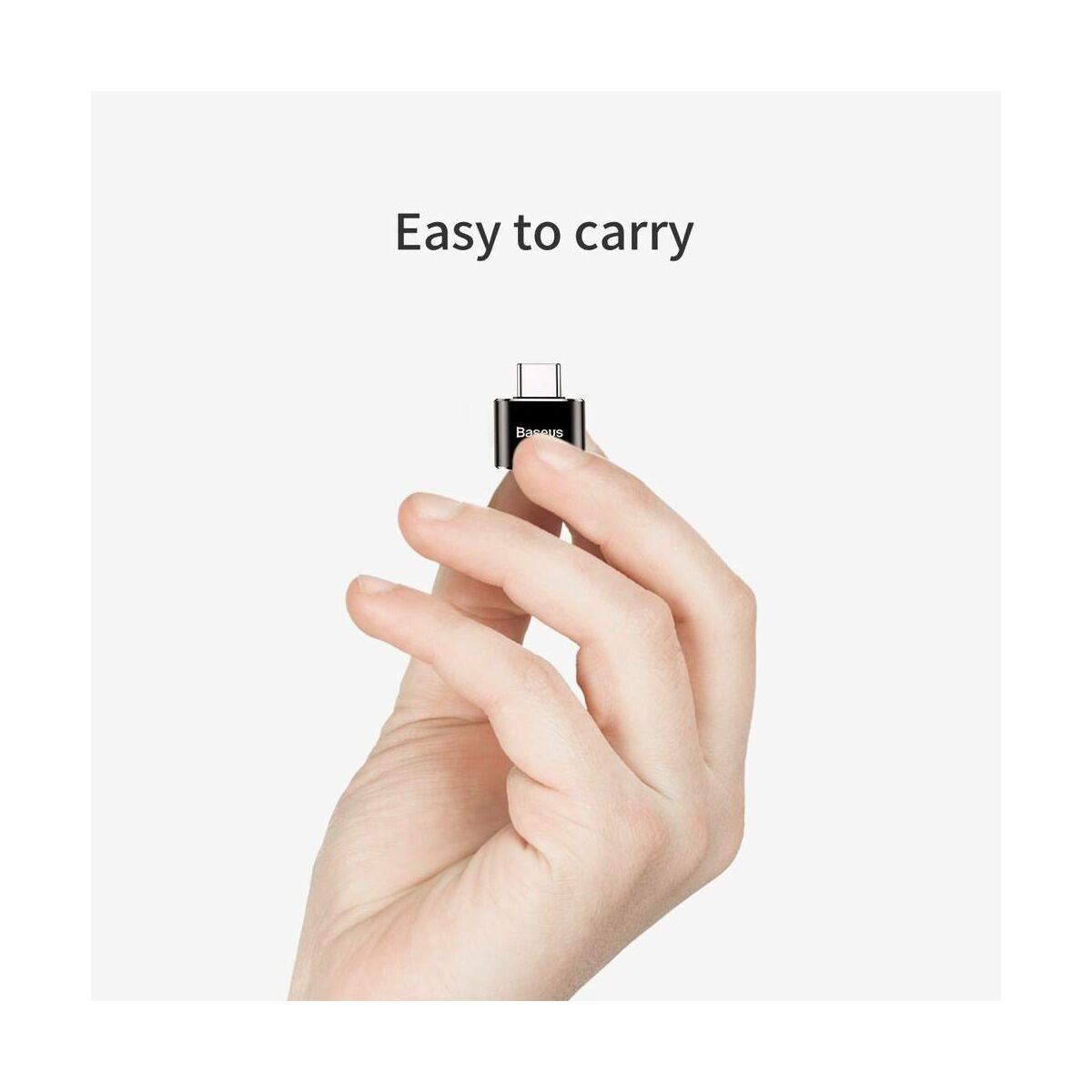 Baseus átalakító, USB[anya] - Type-C[apa], fekete (CATOTG-01)