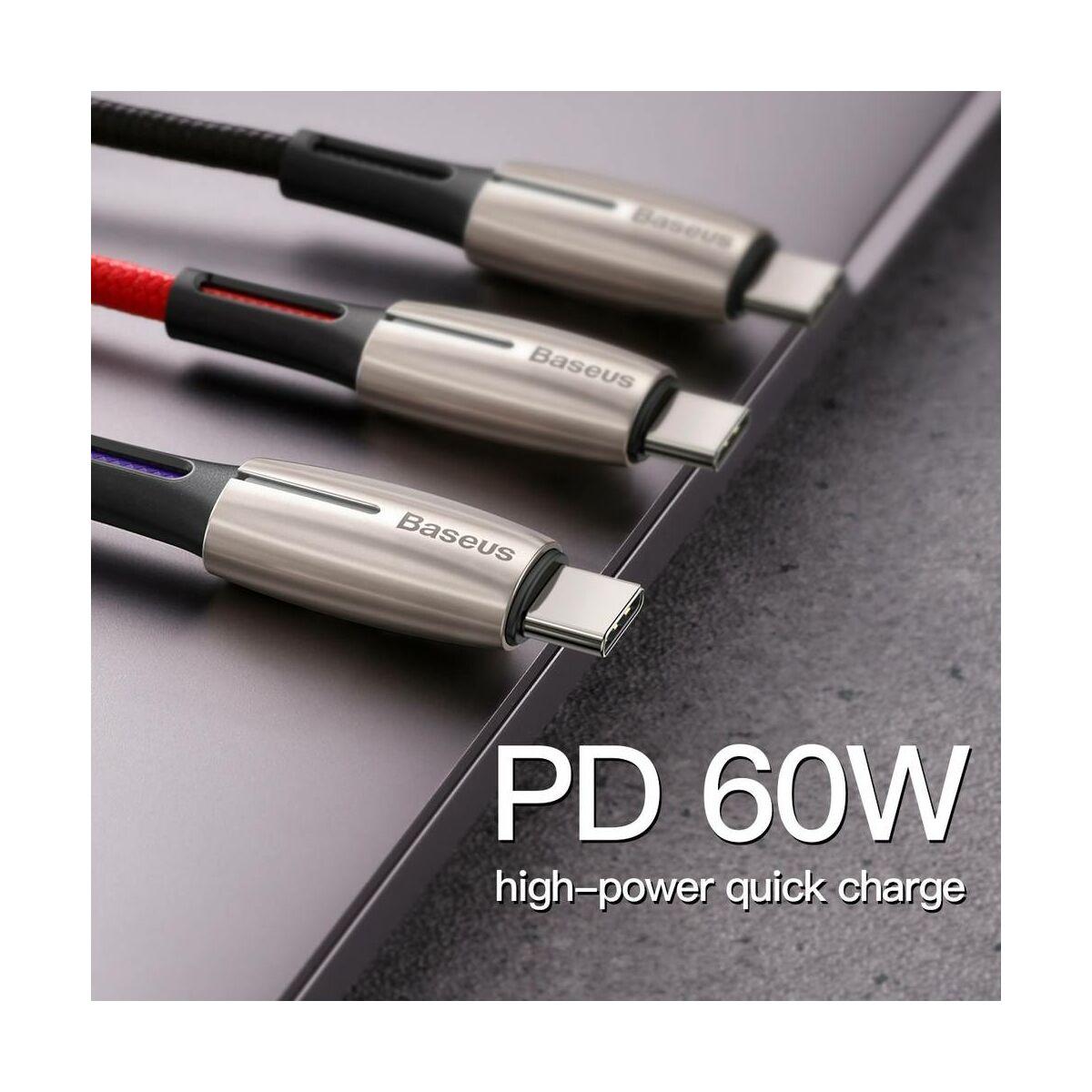 Baseus Type-C Water Drop-shaped Type-C PD 60W gyors töltő-és adatkábel, (20V, 3A), 2m, fekete (CATSD-K01)