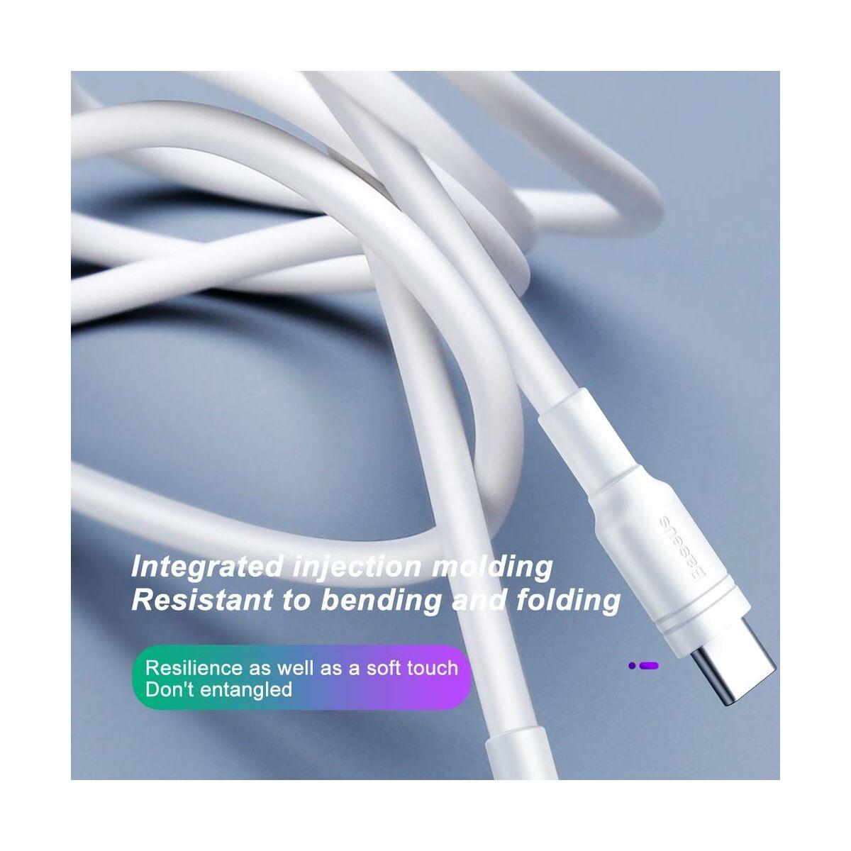 Baseus Type-C Double-ring Huawei gyors töltő/adat kábel 5A, 1m, fehér (CATSH-B02)