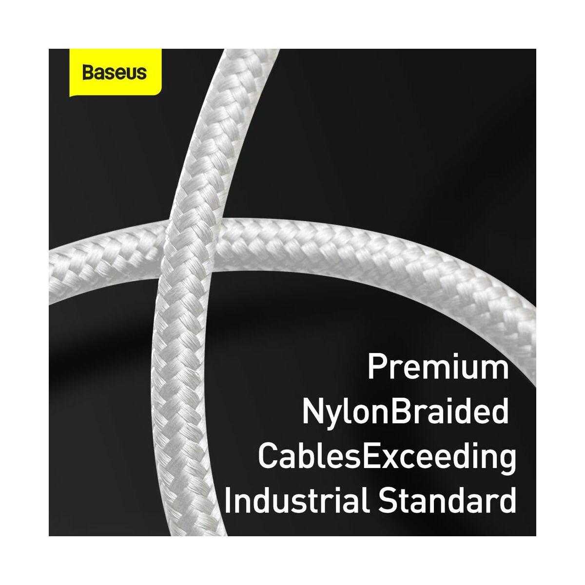 Baseus Type-C kábel, töltés teljesítmény kijelzős gyorstöltő és adatkábel 5A, 1m, fehér (CATSK-02)