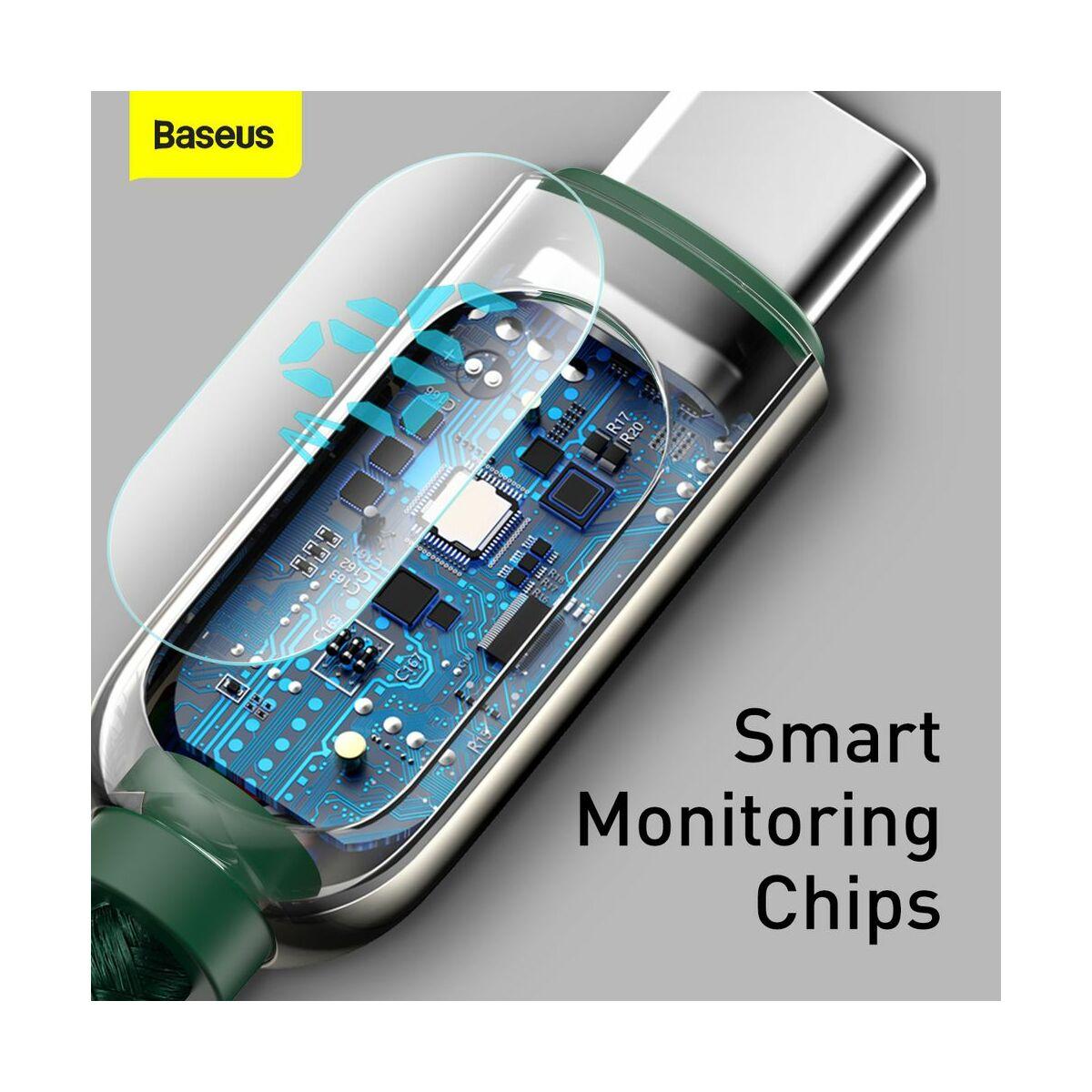 Baseus Type-C kábel, töltés teljesítmény kijelzős gyorstöltő és adatkábel 5A, 1m, zöld (CATSK-06)