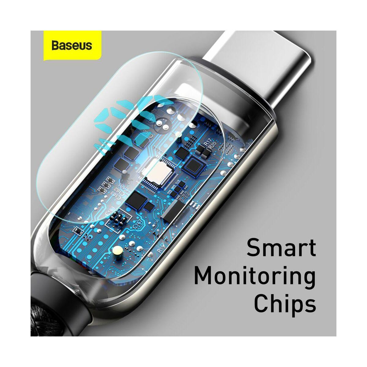 Baseus Type-C kábel, töltés teljesítmény kijelzős gyorstöltő és adatkábel 5A, 2m, fekete (CATSK-A01)