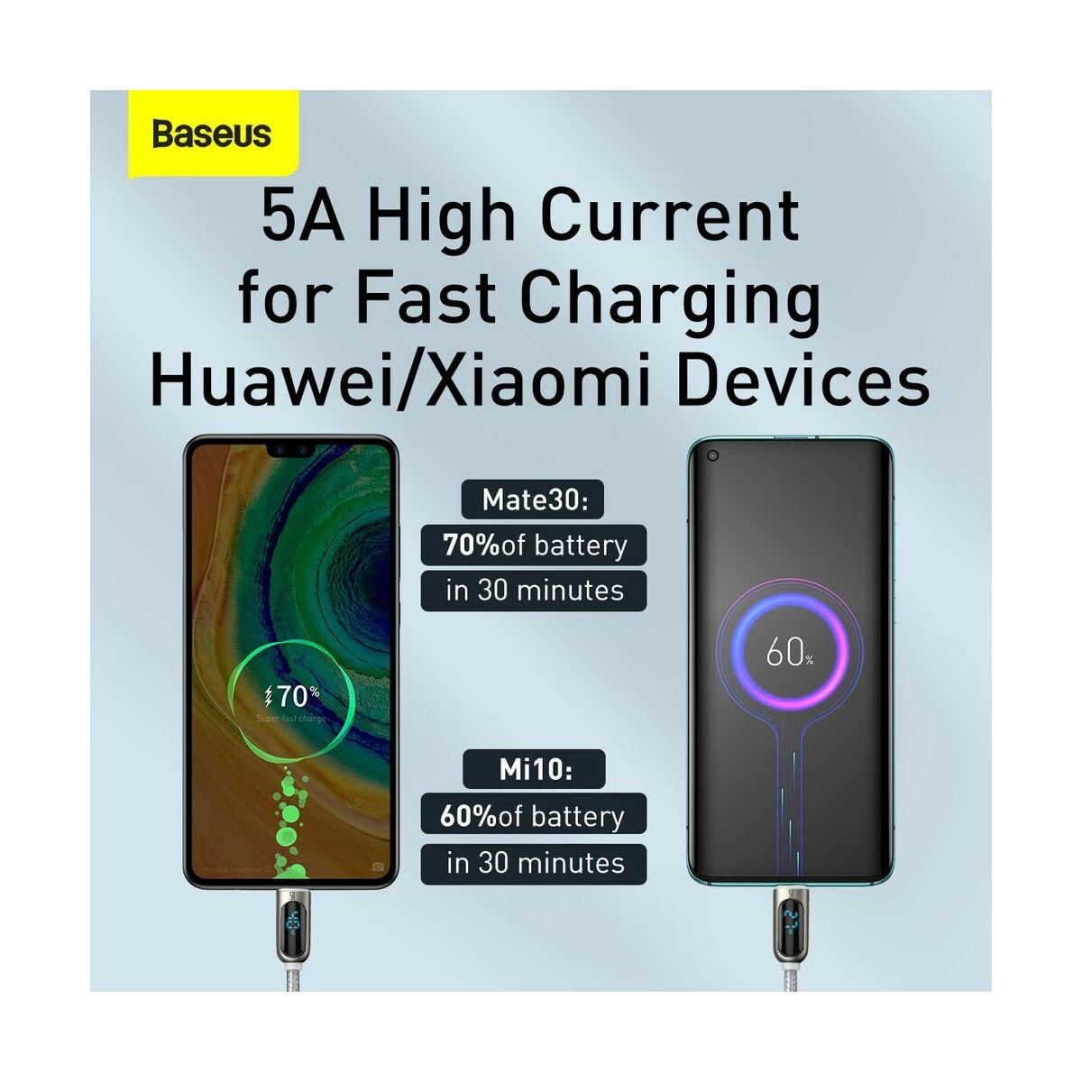 Baseus Type-C kábel, töltés teljesítmény kijelzős gyorstöltő és adatkábel 5A, 2m, fehér (CATSK-A02)