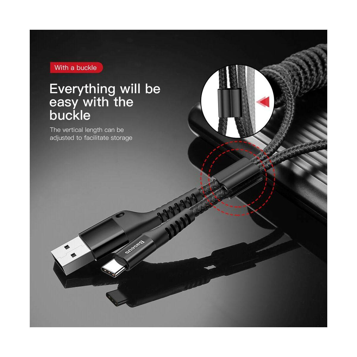 Baseus Type-C kábel, Fish eye Spring, spirális(max 100 cm) vezeték, 2A, 1m, fekete (CATSR-01)