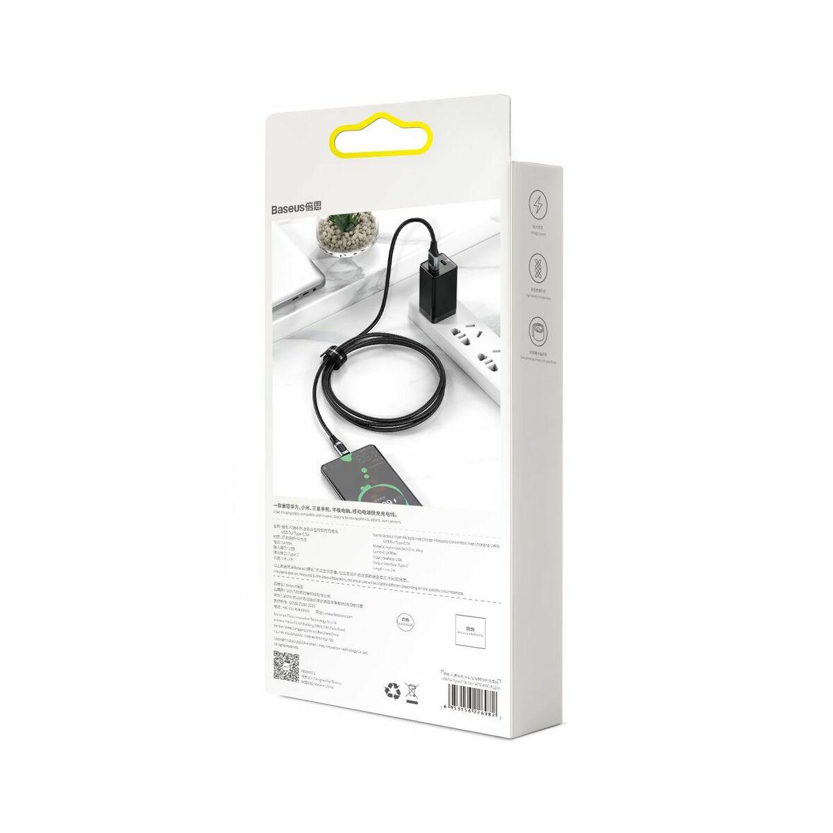 Baseus Type-C kábel, Flash Multiple, többféle gyorstöltő protokoll illesztő funkcióval, 5A, 1m, szürke (CATSS-A0G)