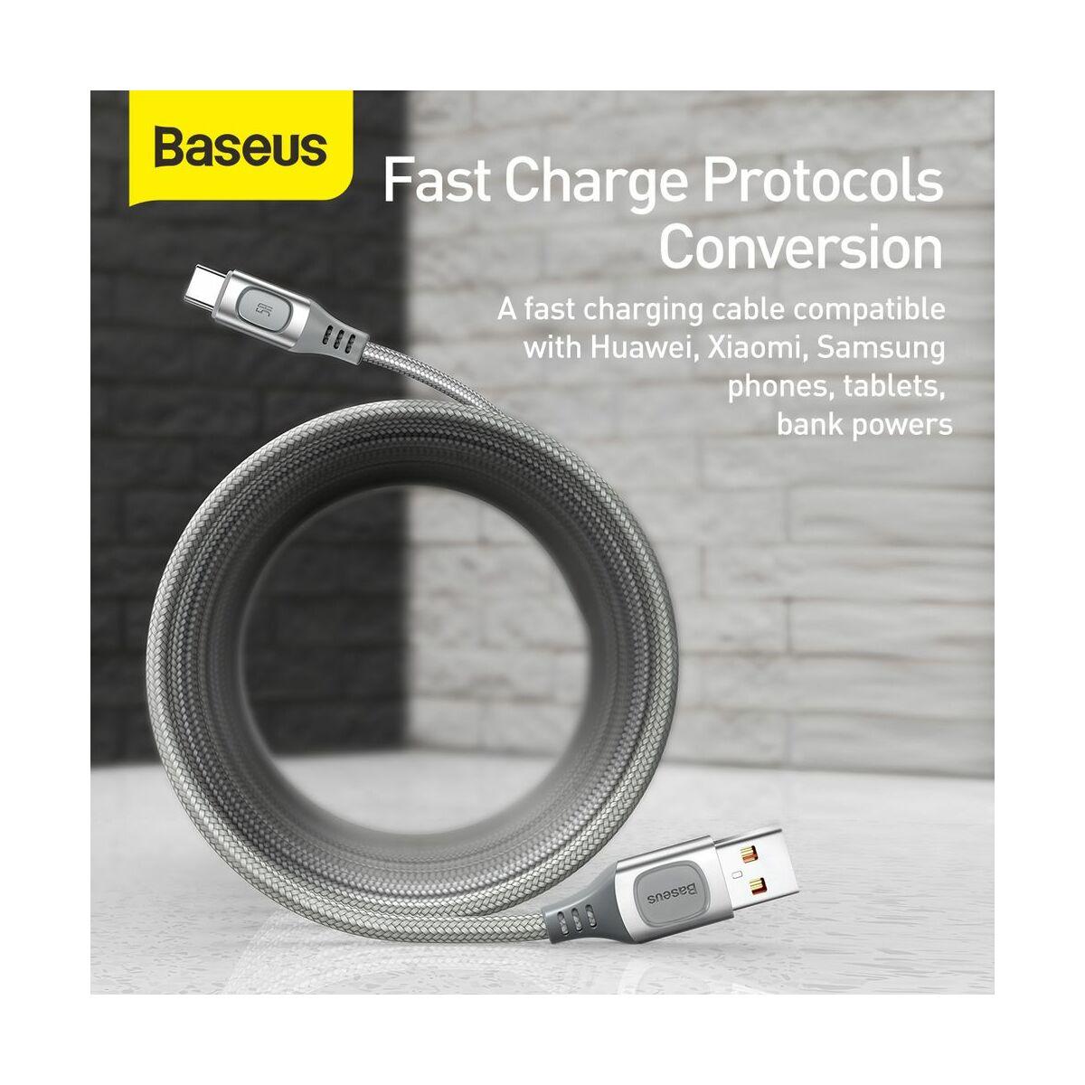 Baseus Type-C kábel, Flash Multiple, többféle gyorstöltő protokoll illesztő funkcióval, 5A, 1m, ezüst (CATSS-A0S)