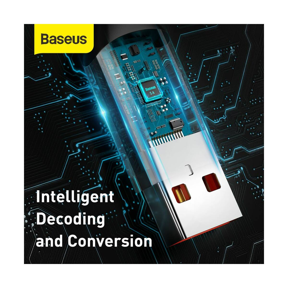 Baseus Type-C kábel, Flash Multiple, többféle gyorstöltő protokoll illesztő funkcióval, 5A, 2m, szürke (CATSS-B0G)