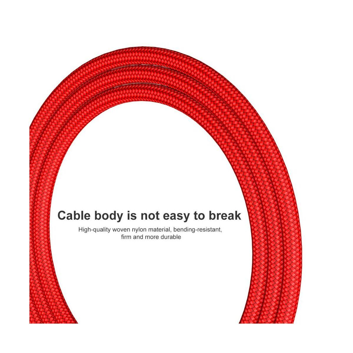 Baseus Type-C kábel, Rapid series, töltés állapot LED visszajajelzős 2A, 0.25m, piros (CATSU-A09)