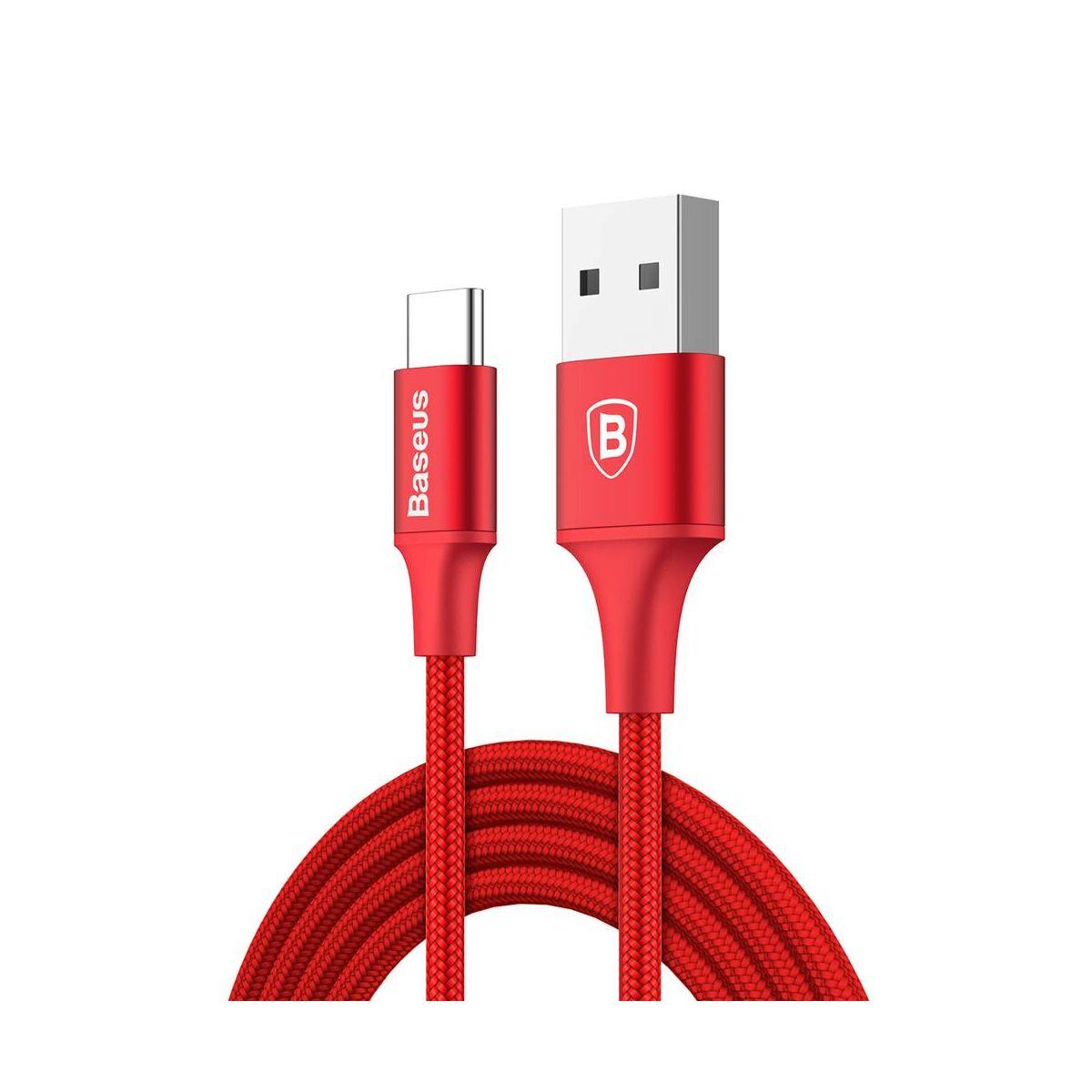 Baseus Type-C kábel, Rapid series, töltés állapot LED visszajajelzős 2A, 1m, piros (CATSU-B09)
