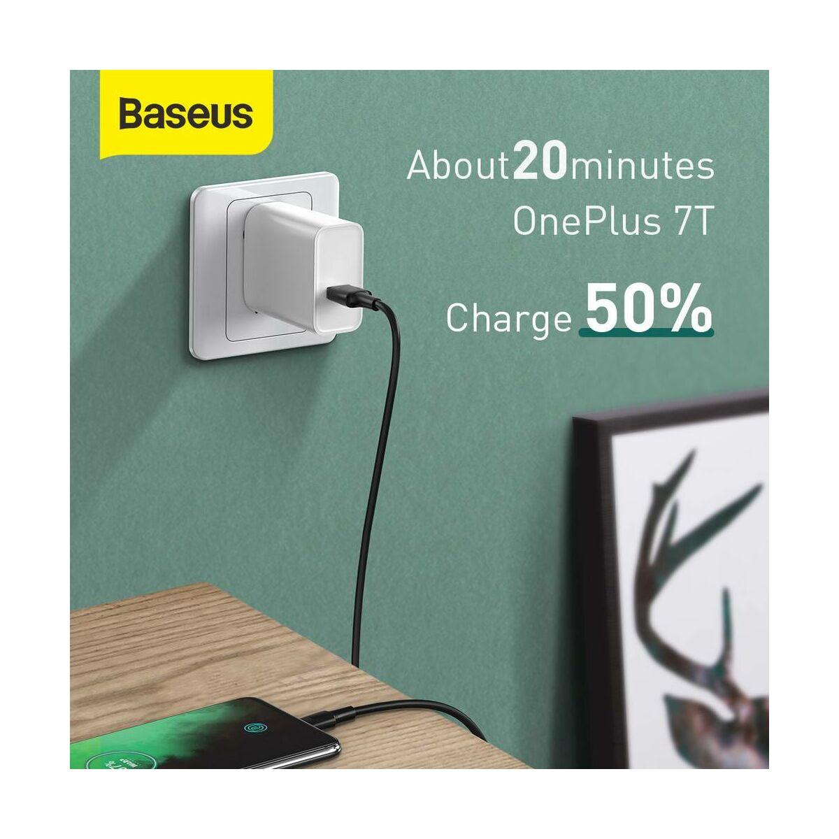 Baseus Type-C kábel, White series gyorstöltés, VOOC támogatás, 5A, 2m, fekete (CATSW-G01)