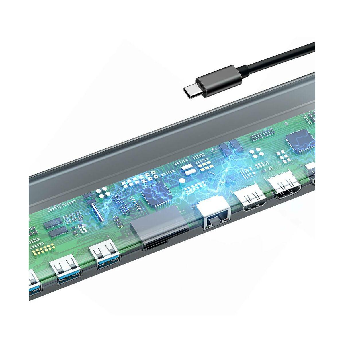 Baseus HUB, Enjoyment series (Type-C bemenetről - 2xHD4K/VGA/RJ45/SD/TF/3xUSB3.0/PD=60W (20V/3A), Notebook dokkoló, szürke (CATSX-G0G)