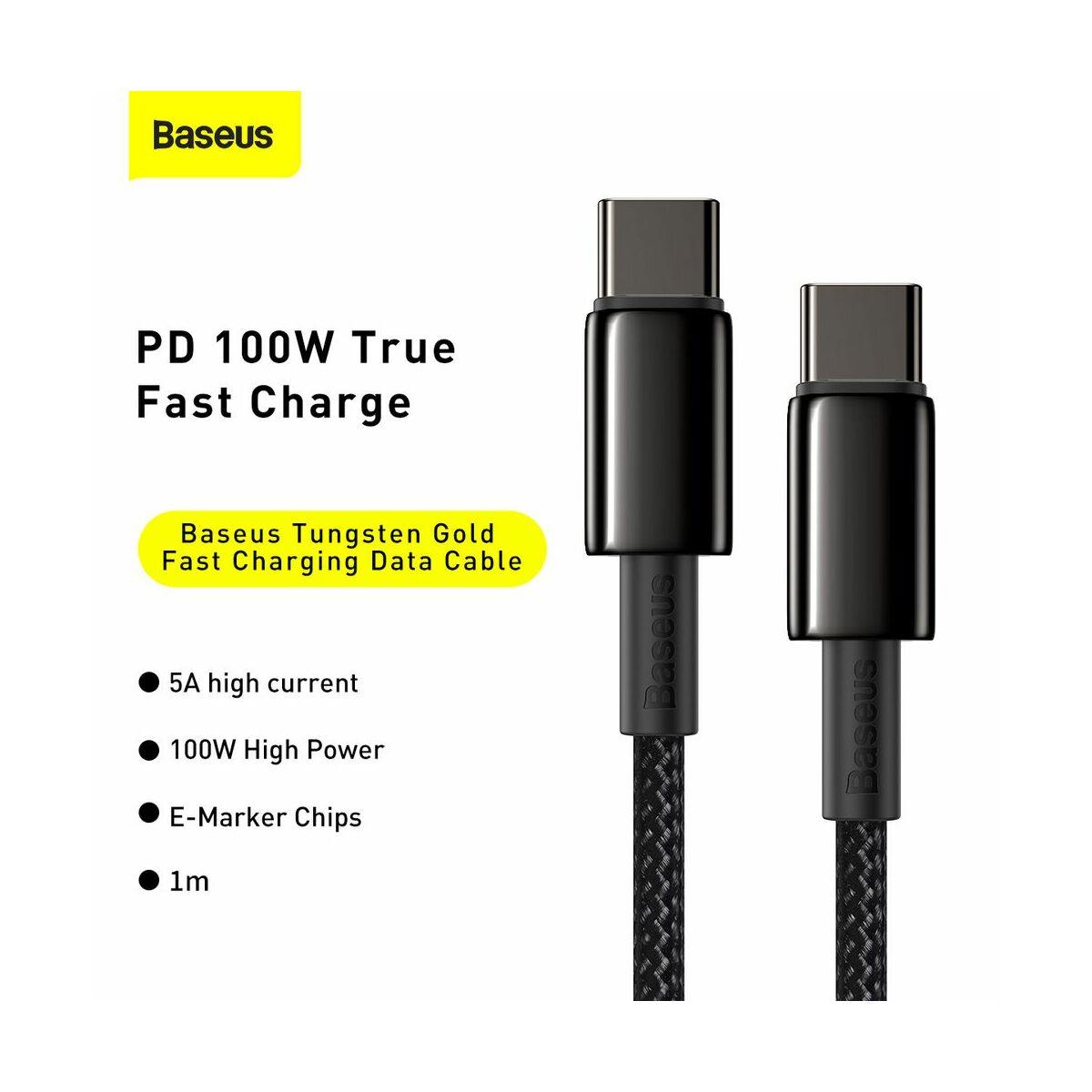 Baseus Type-C kábel, Tungsten Gold gyorstöltő és adatkábel 100W (20V/5A) 1m, fekete (CATWJ-01)