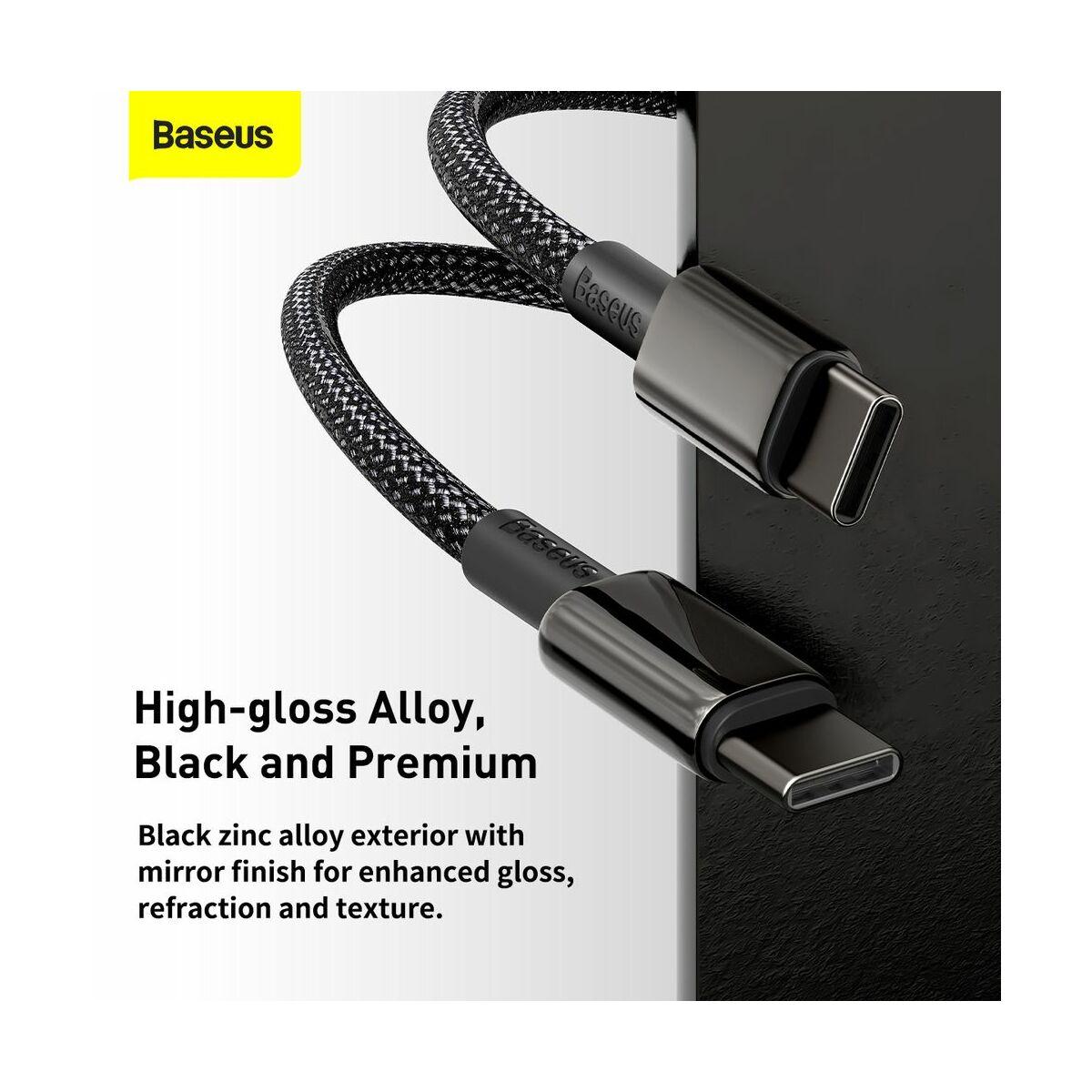 Baseus Type-C kábel, Tungsten Gold gyorstöltő és adatkábel 100W (20V/5A) 2m, fekete (CATWJ-A01)
