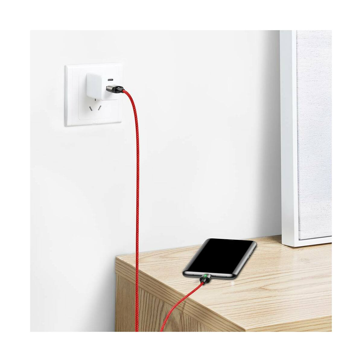 Baseus Mágnese kábel, Type-C Mágnessel csatlakozó töltő kábel, 3A, 1m, piros (CATXC-A09)