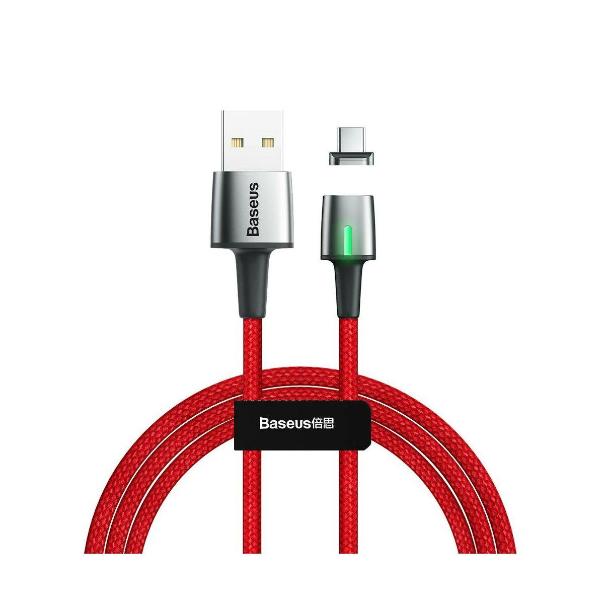 Baseus Mágneses kábel, Type-C Mágnessel csatlakozó töltő kábel, 2A, 2m, piros (CATXC-B09)