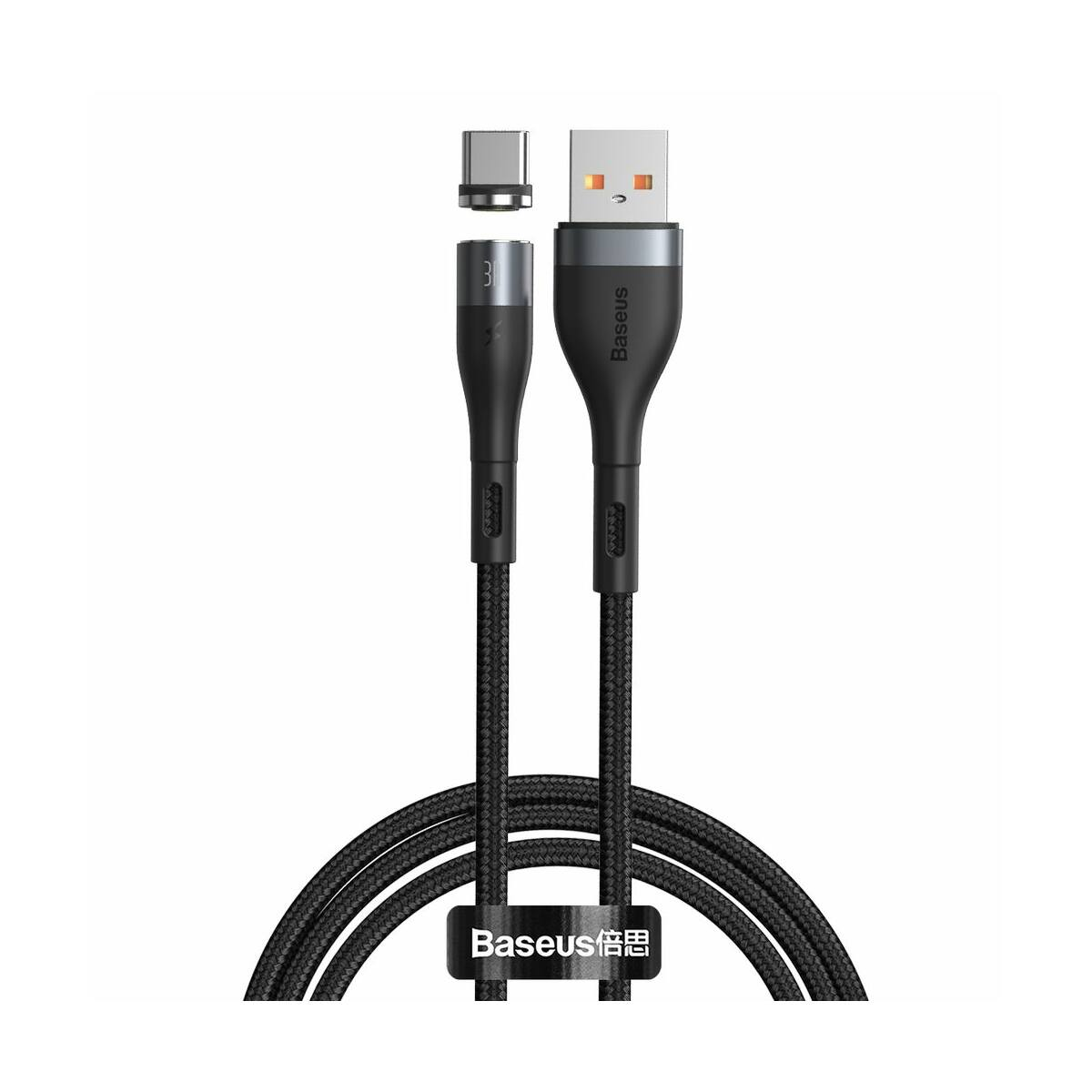 Baseus Type-C Mágnessel csatlakozó töltő kábel, 3A, 1m, fekete/szürke (CATXC-MG1)