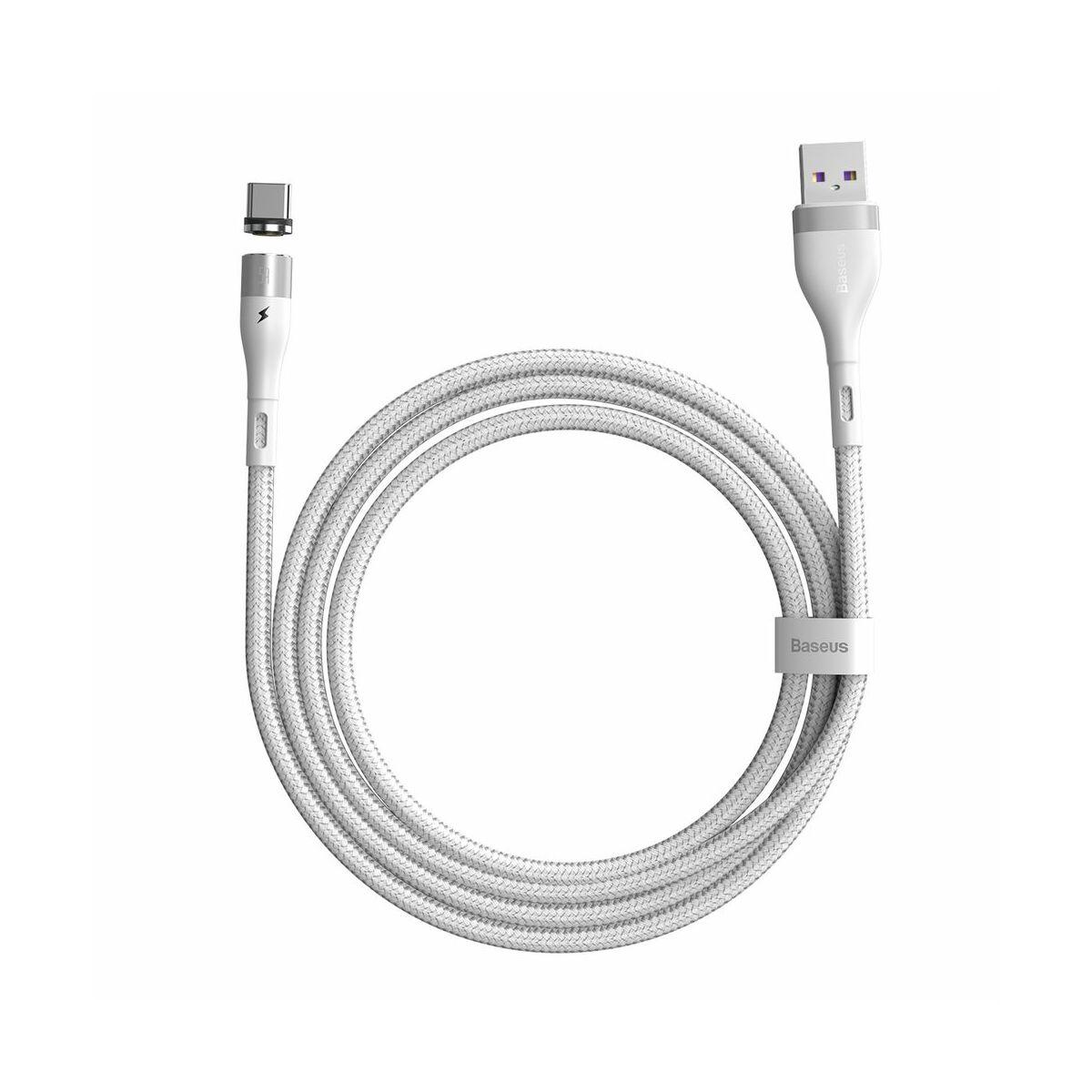 Baseus Type-C Mágnessel csatlakozó töltő kábel, 5A, 1m, fehér (CATXC-N02)