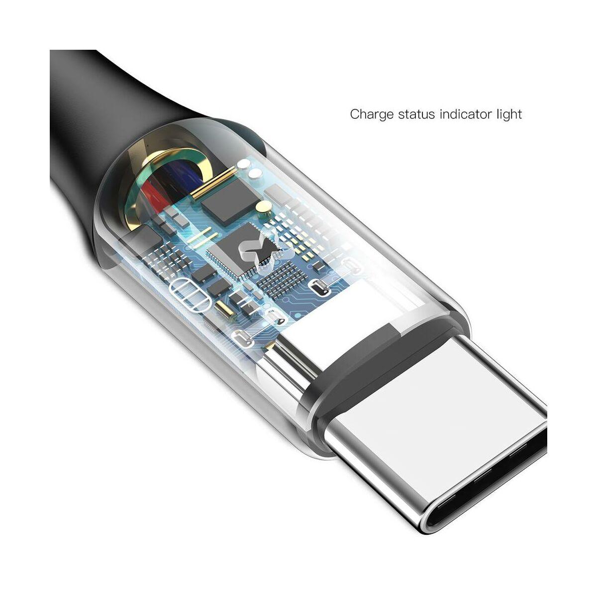 Baseus Type-C kábel, X-Light, töltés/státusz-jelző led, 3A, 1m, fekete (CATXD-A01)
