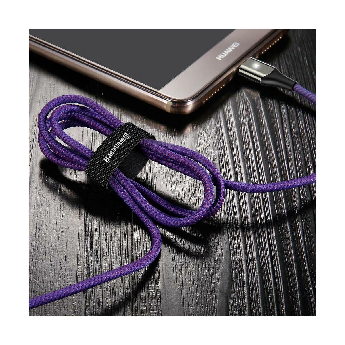 Baseus Type-C kábel, X-Light, töltés/státusz-jelző led, 3A, 1m, lila (CATXD-A05)